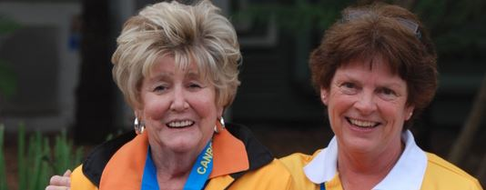 Jill Coughran (left) with Robyn Base at the Canberra Games