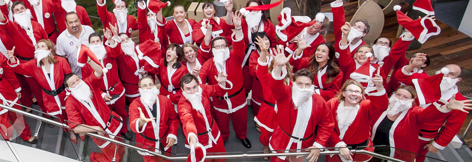 this december why not dress up as santa for a day for your work christmas party and perhaps take a team of santas to lunch its a fun way to welcome in