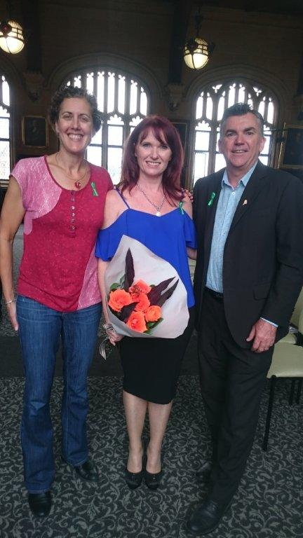 Liver recipient Michelle Daley with Leah Barthel and Chris Thomas