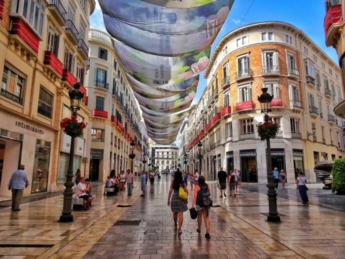 Marques de Larios shopping street, photo courtesy of World Wanderista