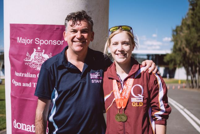 The President of the World Transplant Games Federation Mr Chris Thomas with Kate Phillips at the Australian Transplant Games in Western Sydney