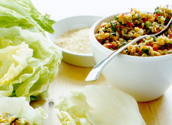 Lentil and vegetable lettuce cups