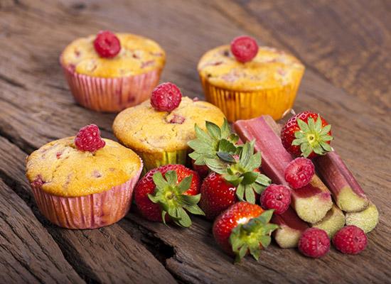 Strawberry and Rhubarb Muffins recipe